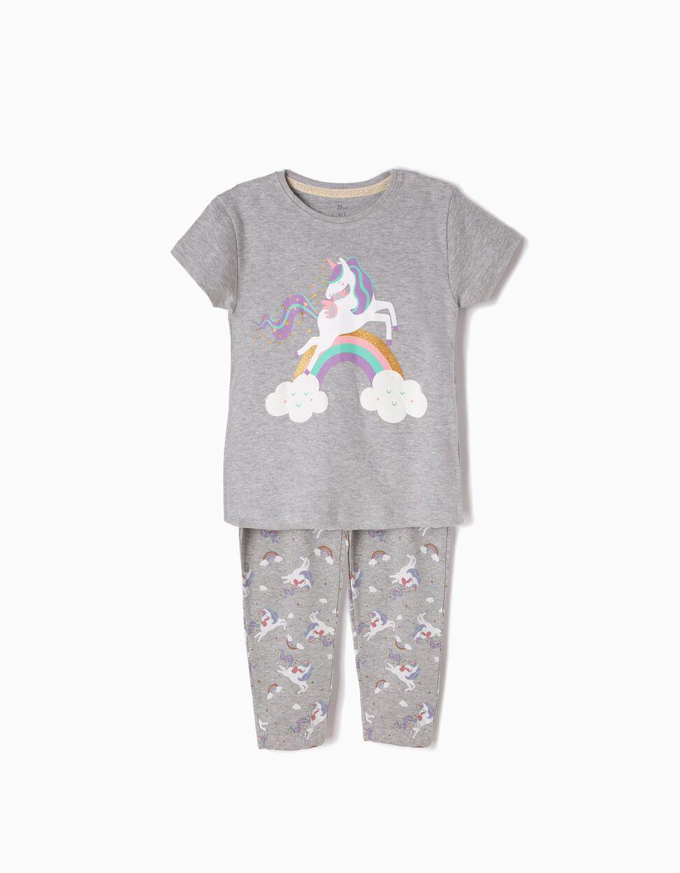 Pijama Manga Curta e Calças Unicorn