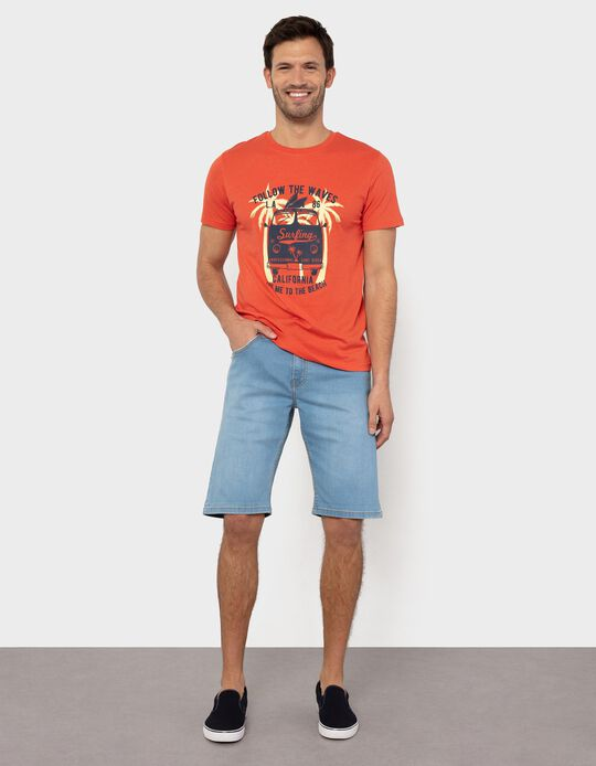 Slim Fit, Stretch Denim Shorts, for Men