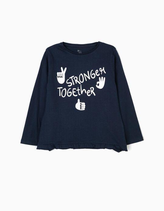 T-shirt Manga Comprida para Menina 'Stay Strong', Azul