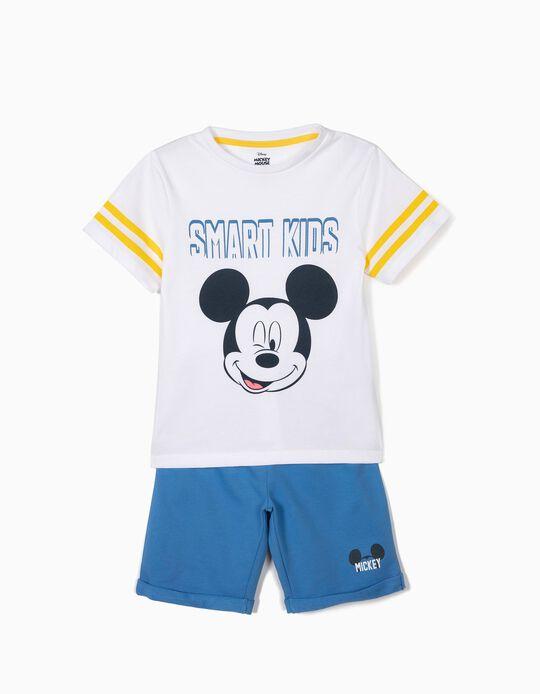 T-shirt e Calções para Menino 'Mickey', Branco e Azul