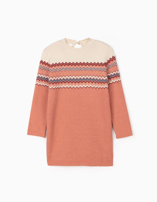 Dress with Jacquard for Girls, Beige/Pink