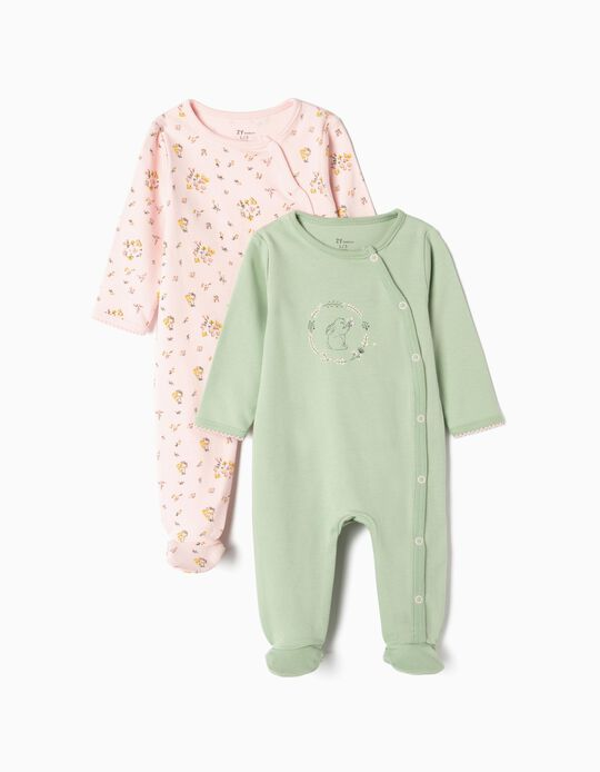 2-Pack Sleepsuits for Newborn Girls 'Cute Bunny', Pink/Green