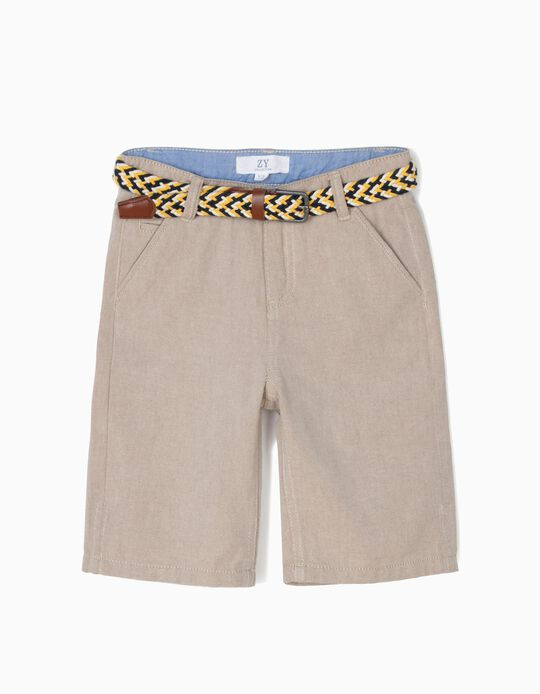 Chino Shorts with Belt for Boys, Beige