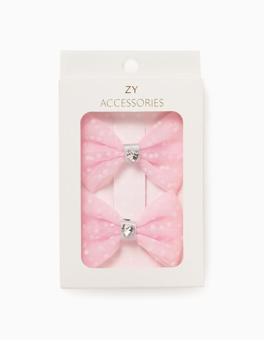 2 Tulle Hair Clips for Girls 'Hearts', Pink