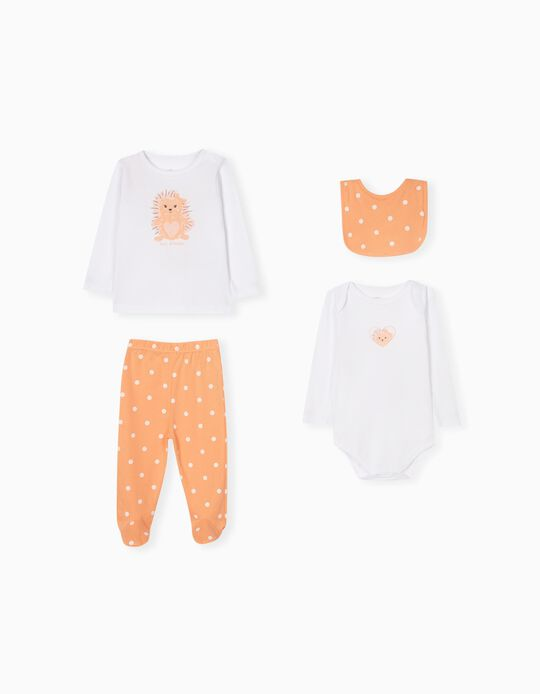 Bodysuit, Sports Combo & Bib for Babies, Coral