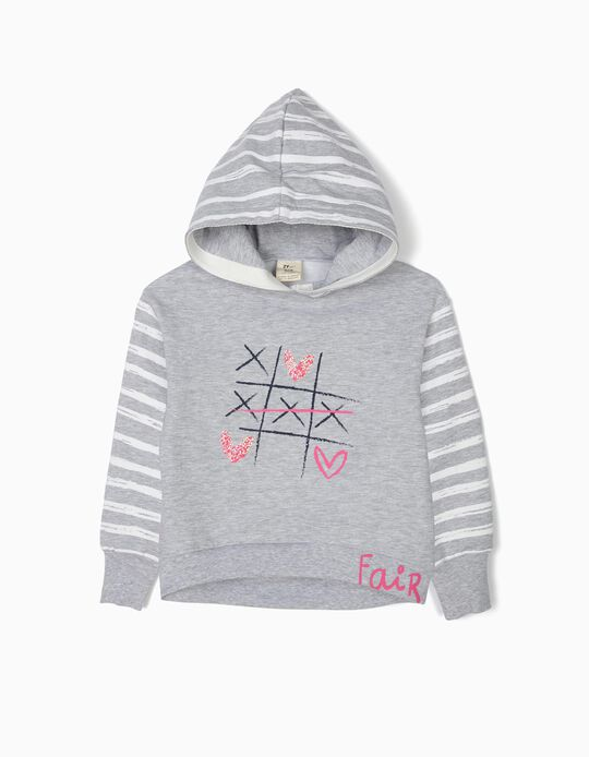 Sweatshirt com Capuz para Menina 'Fair Game', Cinza