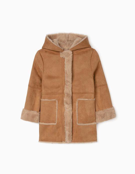 Suede Hooded Jacket for Girls, Camel