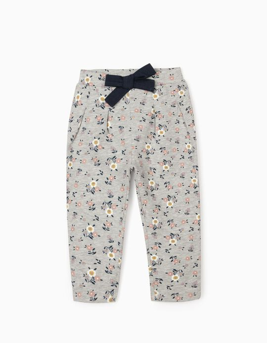 Joggers for Baby Girls 'Flowers', Grey