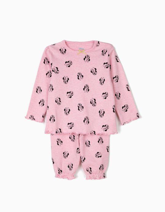 Pijama para Bebé Menina 'Minnie' Manga Comprida, Rosa