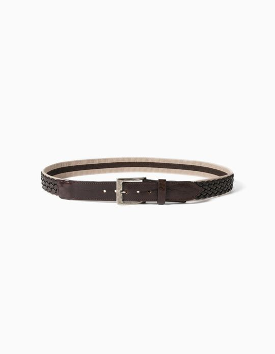 Leather Belt with Detail, for Men
