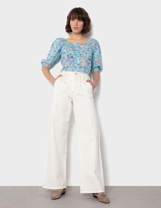 Jeans Cintura Alta com Pinças, Mulher