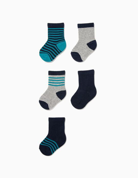 Pack of 5 Plain and Blue and Grey Striped Socks