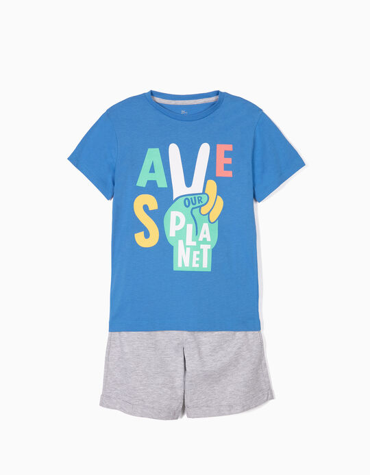 T-shirt e Calções para Menino 'Save Our Planet', Azul e Cinza