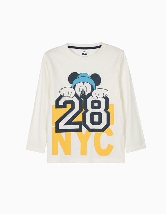T-shirt de Manga Comprida Mickey 28 NYC Branca