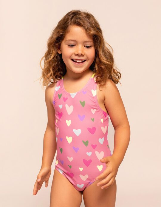 Swimsuit for Girls, UV 60 Protection, 'Hearts', Pink