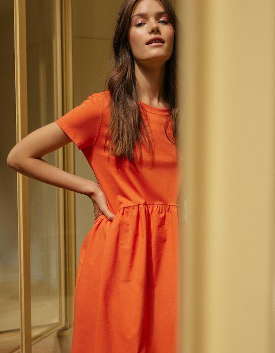 Short Sleeve Dress for Women, Orange