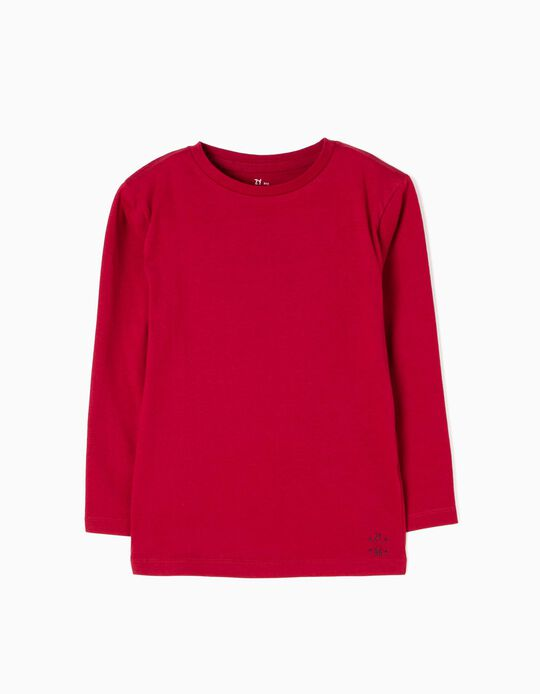 Dark Red Long-Sleeved Top