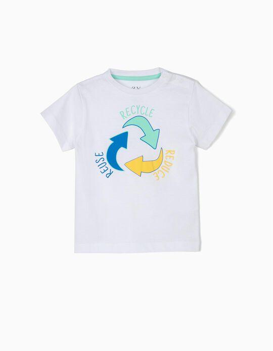 T-shirt para Bebé Menino 'Recycle', Branco