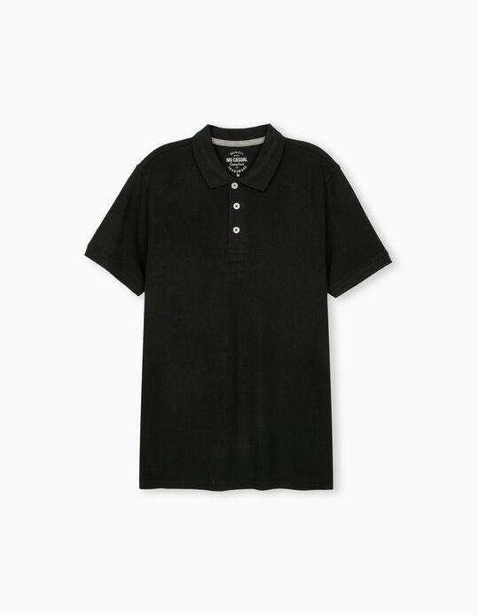Piqué Polo Shirt, Black
