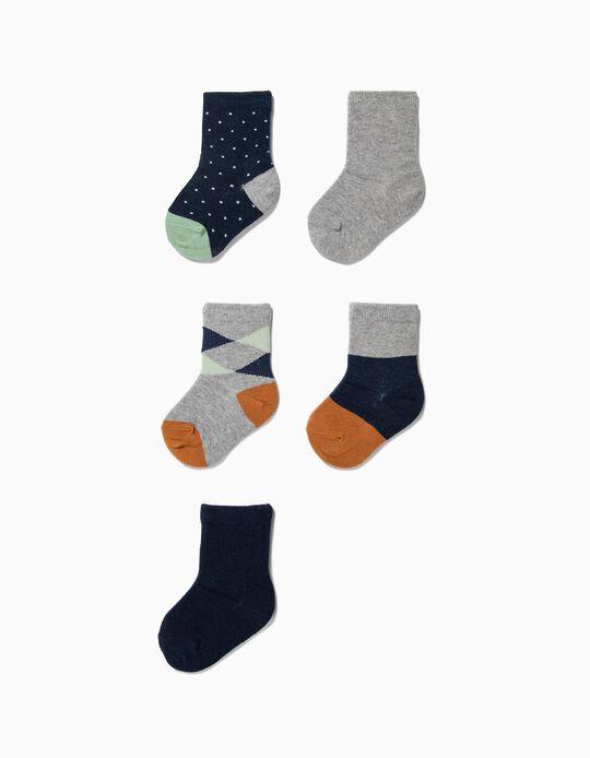5 Pares de Meias para Bebé Menino 'Dots & Stripes', Multicolor