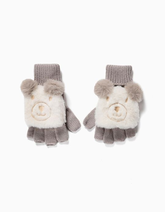 Gloves with Flip-top Mitten for Girls 'Cute Bear', Beige/White