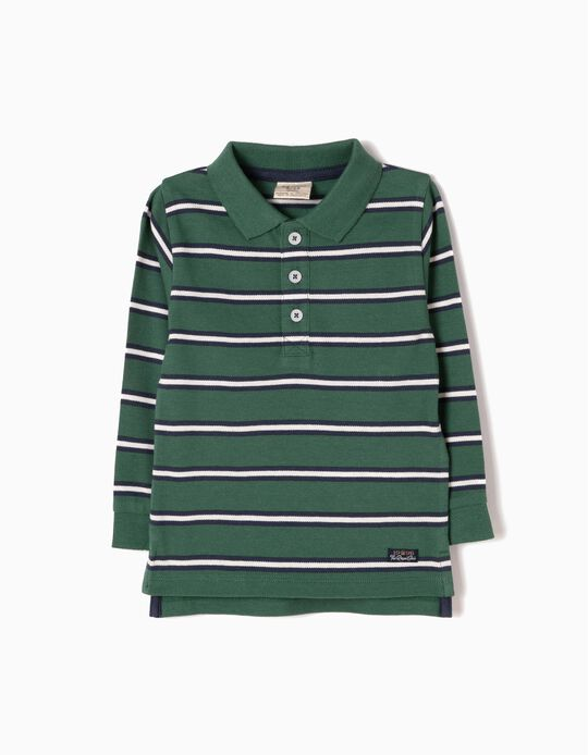 Blue Striped Long-Sleeved Polo Shirt