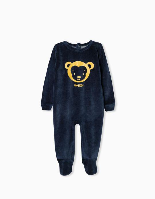 Velour Sleepsuit for Babies, Dark Blue