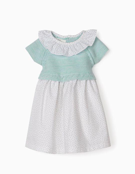 Vestido Combinado para Recém-Nascida, Azul/Branco