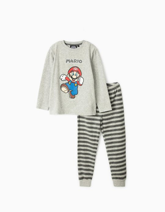 Velour Pyjamas for Boys, 'Super Mario', Grey
