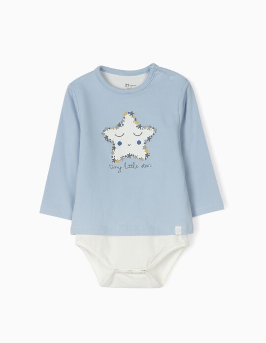 Bodysuit for Newborn Babies 'Tiny Little Star', Blue/White