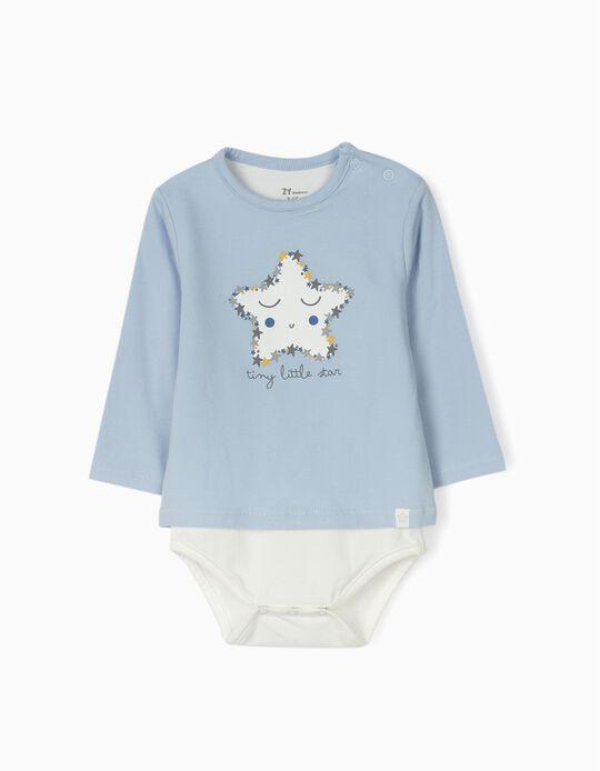 Body para Recém-Nascido 'Tiny Little Star', Azul/Branco