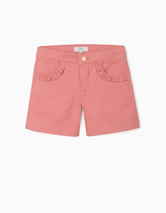 Twill Shorts for Girls, Pink