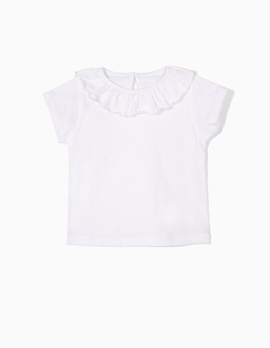 T-shirt with Ruffle for Baby Girls, White