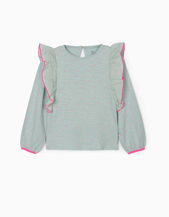 Long Sleeve T-Shirt for Girls 'Pink Dots', Aqua Green