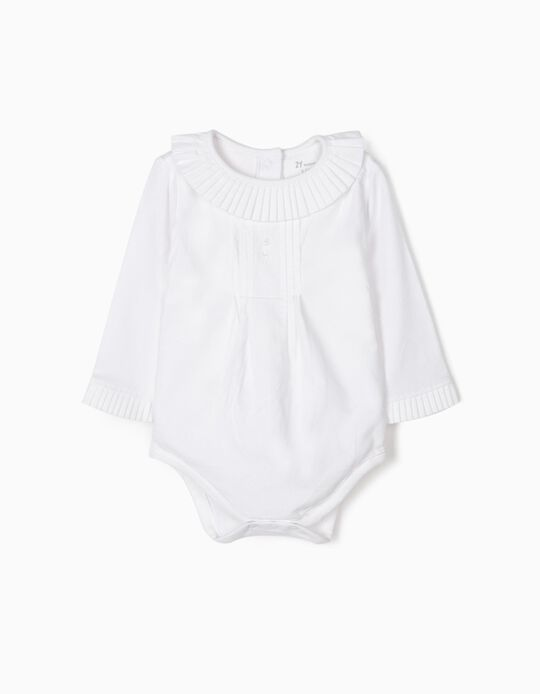 Bodysuit Blouse with Pleats for Newborn Girls, White