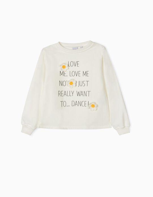 White Carded Sweatshirt for Girls