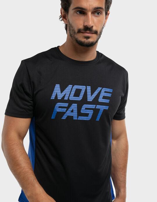 T- shirt com painés laterais em malha respiráveis