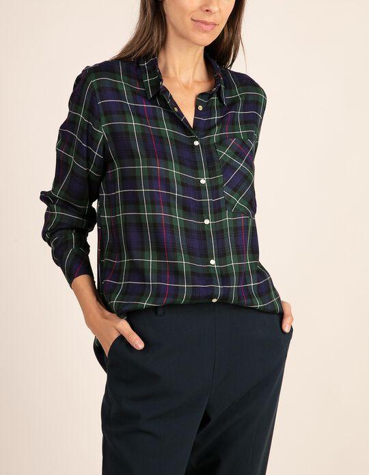 Camisa com padrão em tartan e bolso