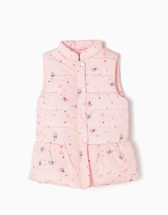 Padded Waistcoat, Pink Hearts