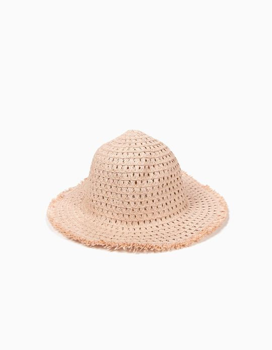 Straw Hat with Lurex for Girls, Pink