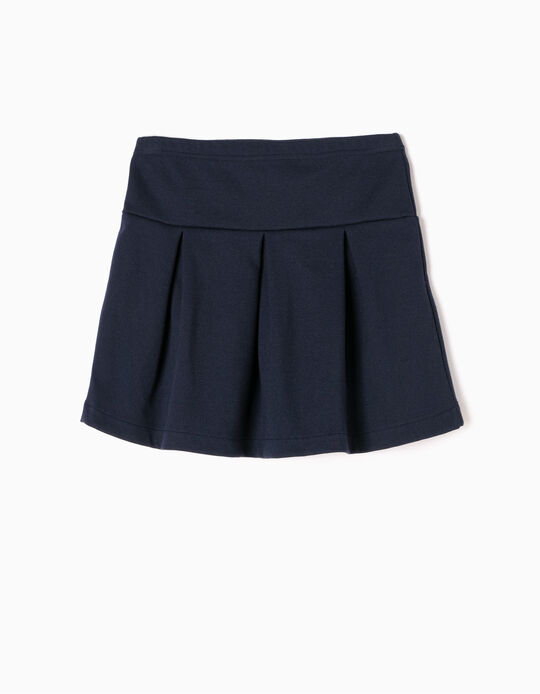 Navy Blue Pleated Skirt