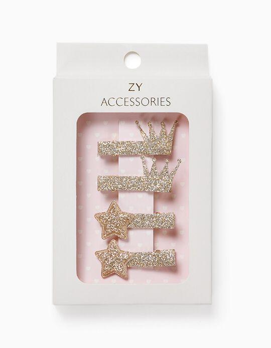 4 Ganchos Cabelo para Menina 'Stars & Crowns', Dourado