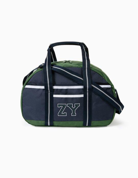Sports Bag for Boys 'ZY', Green/Dark Blue