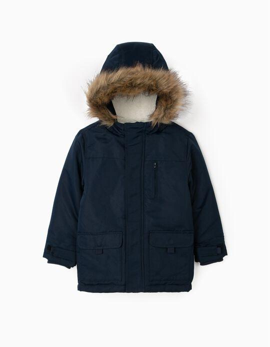 Hooded Parka for Boys, Dark Blue