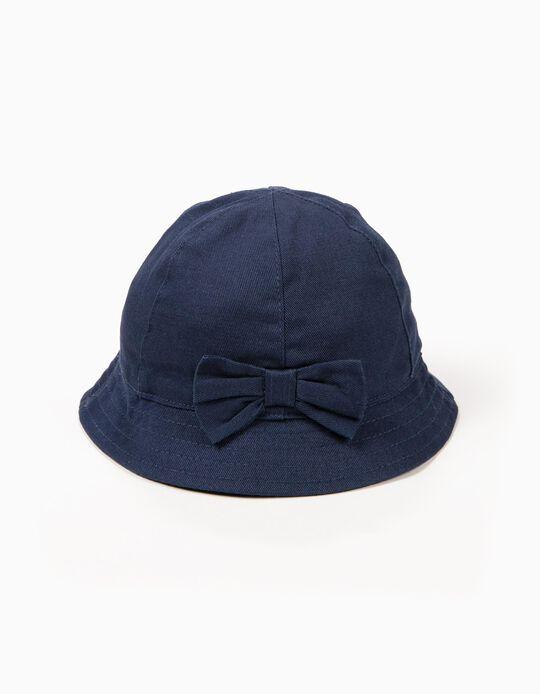Chapéu para Menina com Laço, Azul Escuro