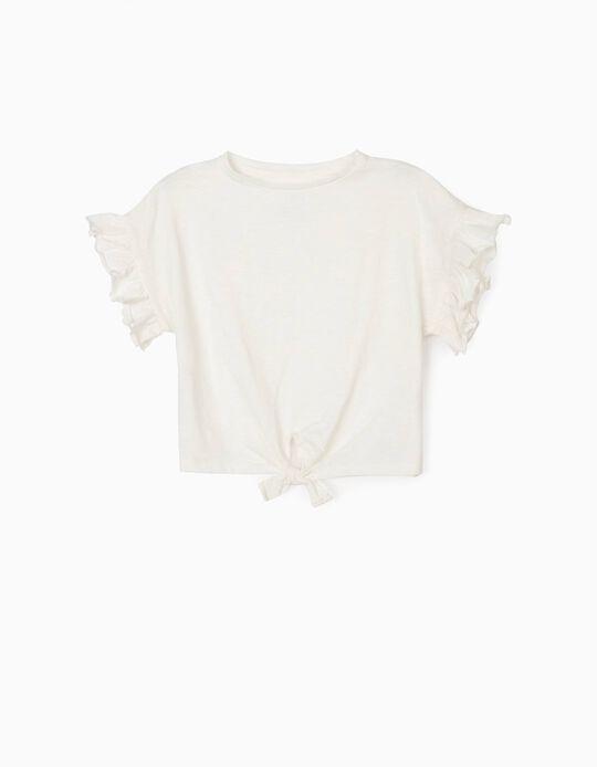 T-shirt Algodão Orgânico para Menina, Branco