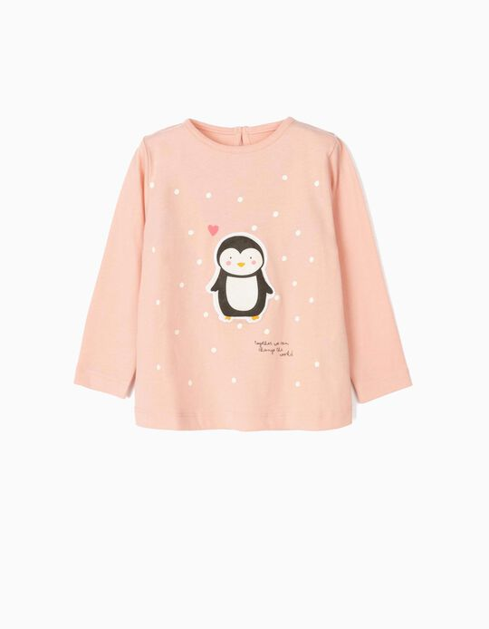 Long-sleeve Top for Baby Girls 'Cute Penguin', Pink