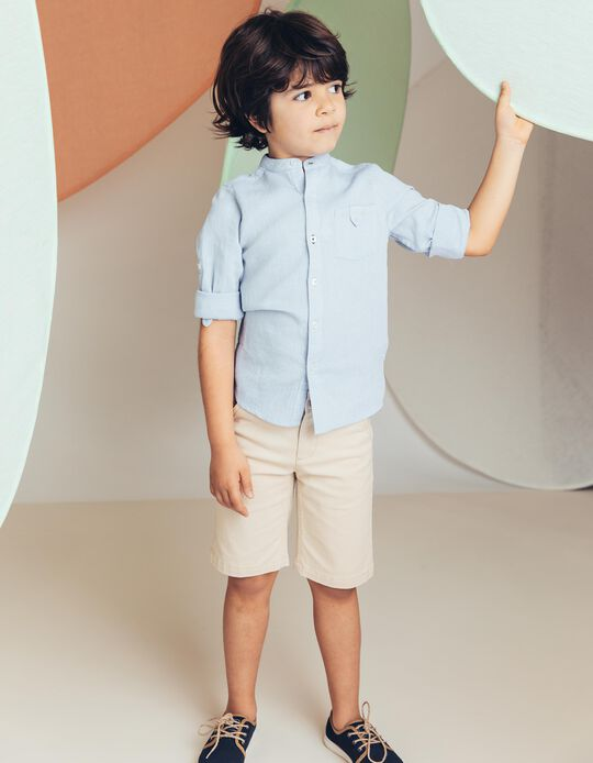 Camisa para Menino com Textura, Azul