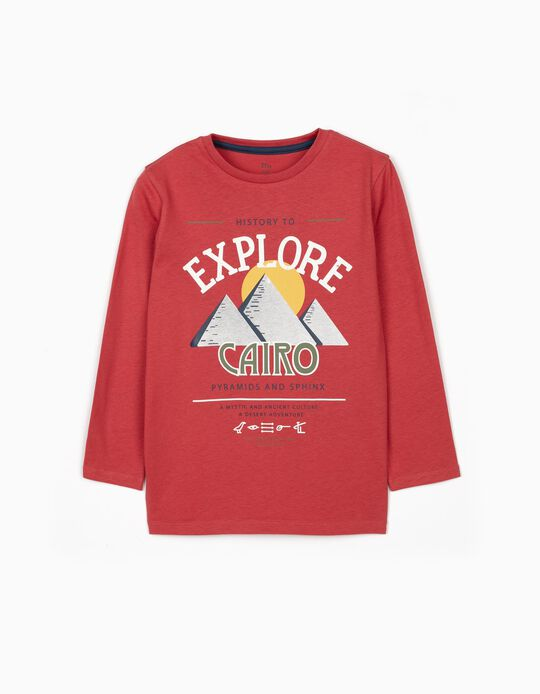 T-shirt Manga Comprida para Menino 'Egypt Tours', Vermelho Escuro