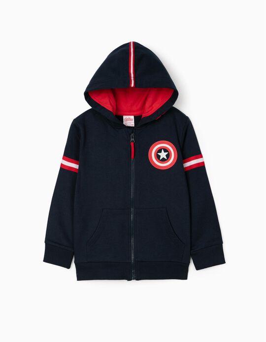 Hooded jacket for boys 'Captain America, Dark Blue